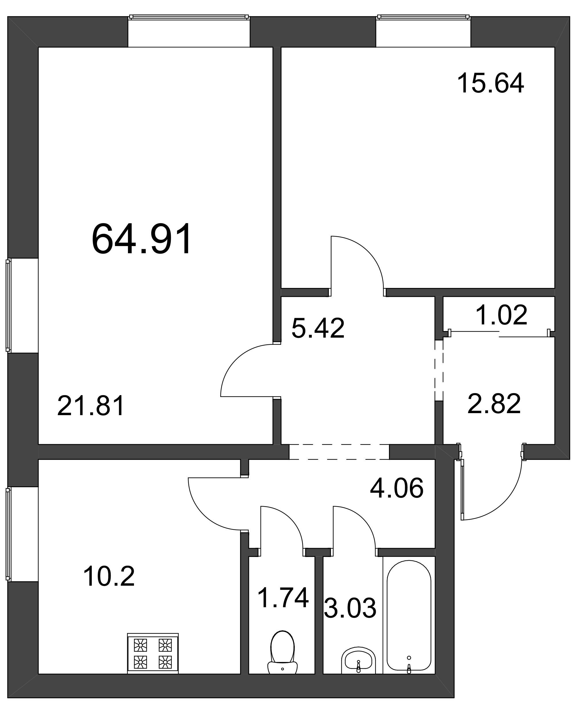 Планировка Двухкомнатная квартира площадью 64.91 кв.м в ЖК «Pushkin House»