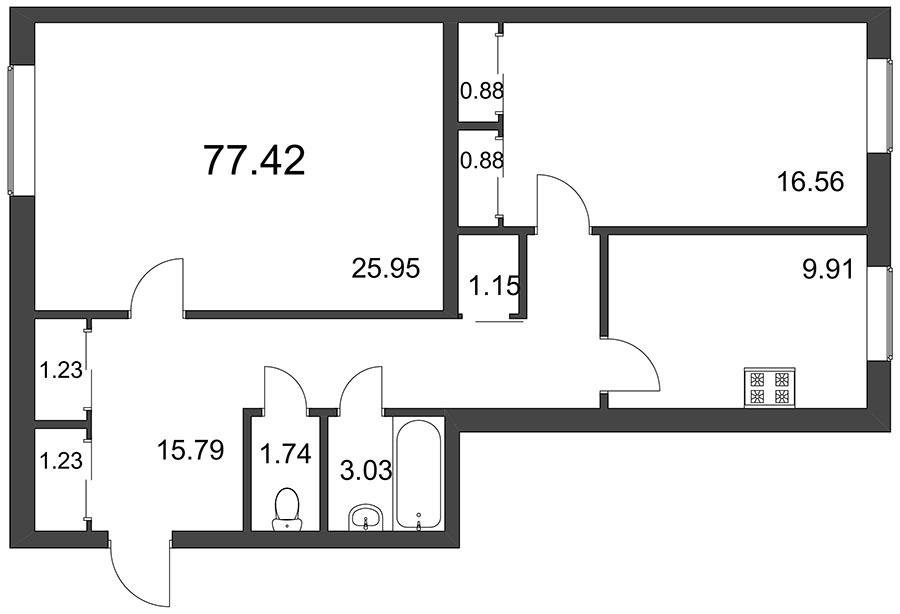 Планировка Двухкомнатная квартира площадью 77.42 кв.м в ЖК «Pushkin House»